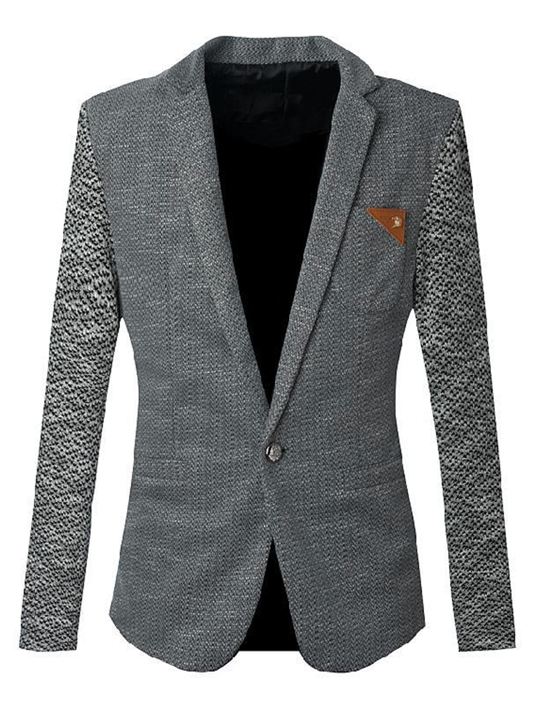 Men Notched Lapel Long Sleeve Premium Blazer Jacket Dark Gray S