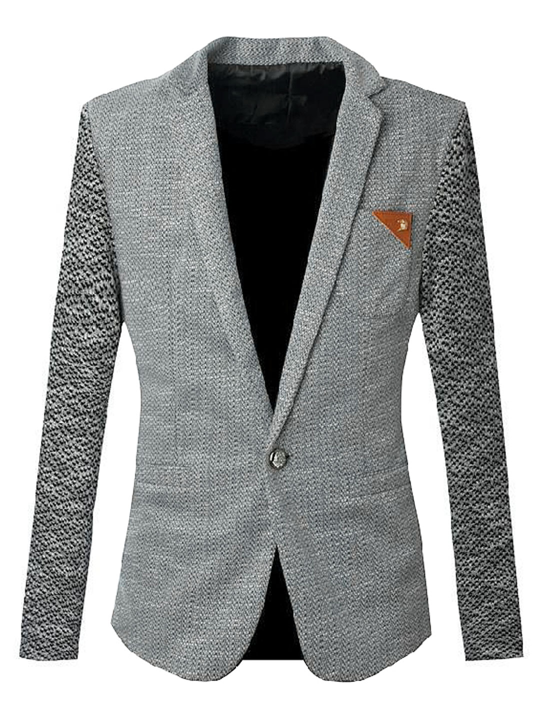 Men Long Sleeve One Button Premium Blazer Jacket Light Gray S