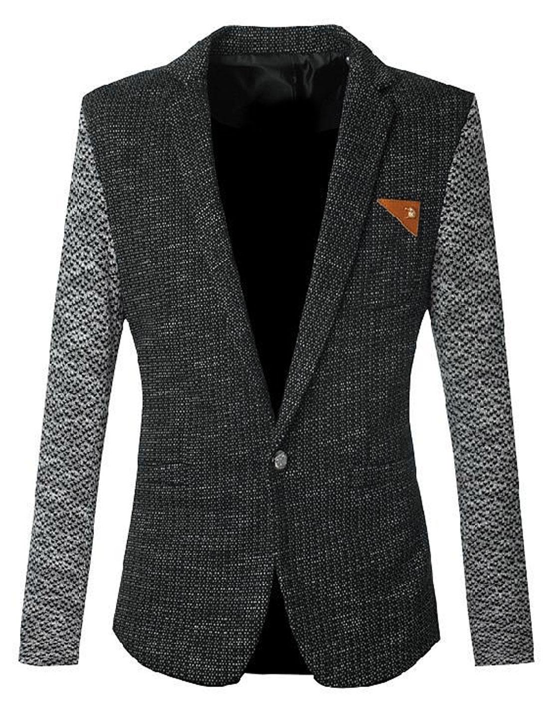 Men Contrast Color Notched Lapel Premium Blazer Jacket Black S
