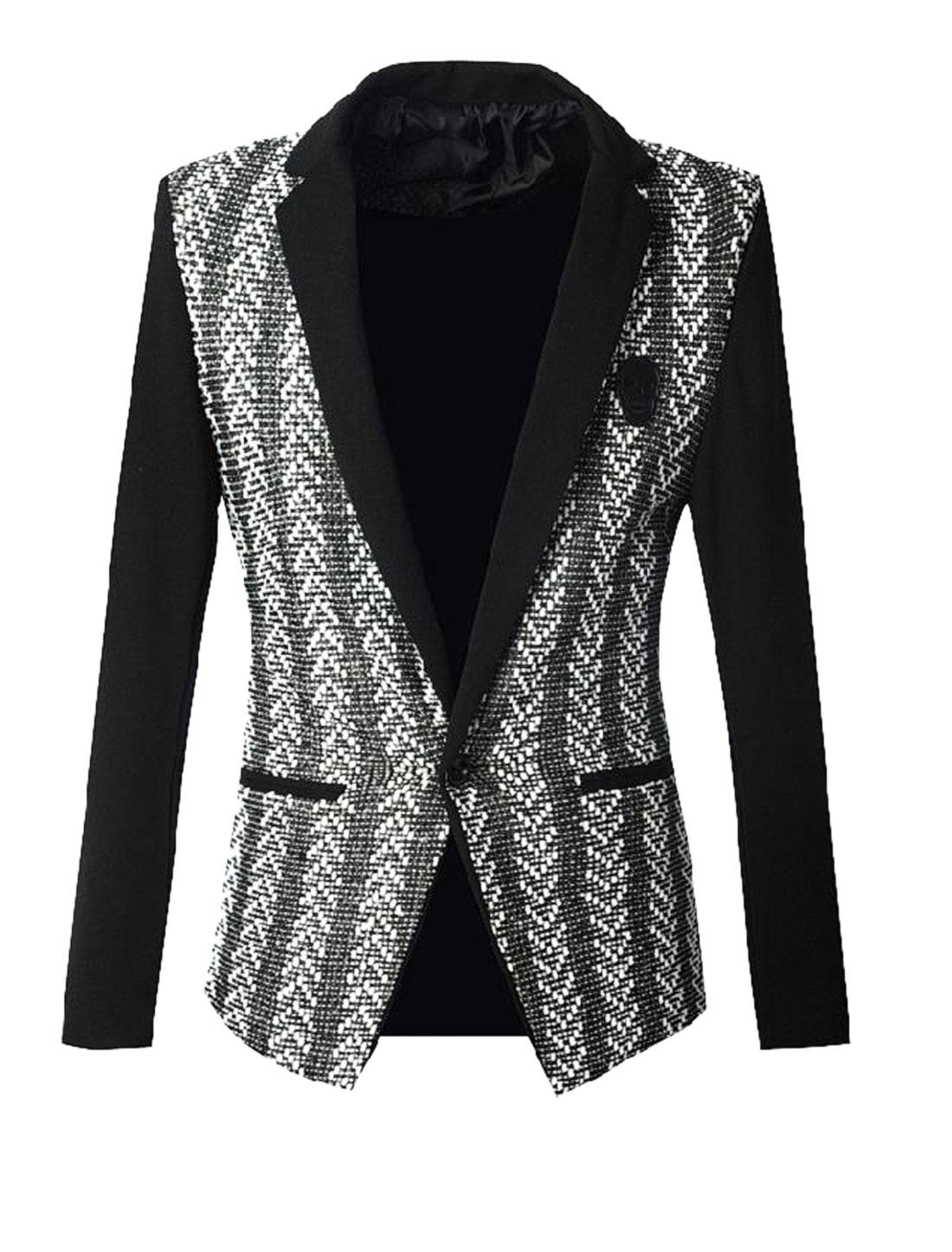 Men Intertexture Design Notched Lapel Premium Blazer Jacket Black S