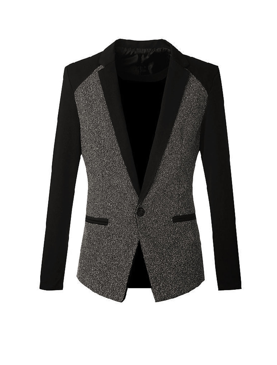 Men Notched Lapel Color Block Premium Blazer Jacket Dark Gray S