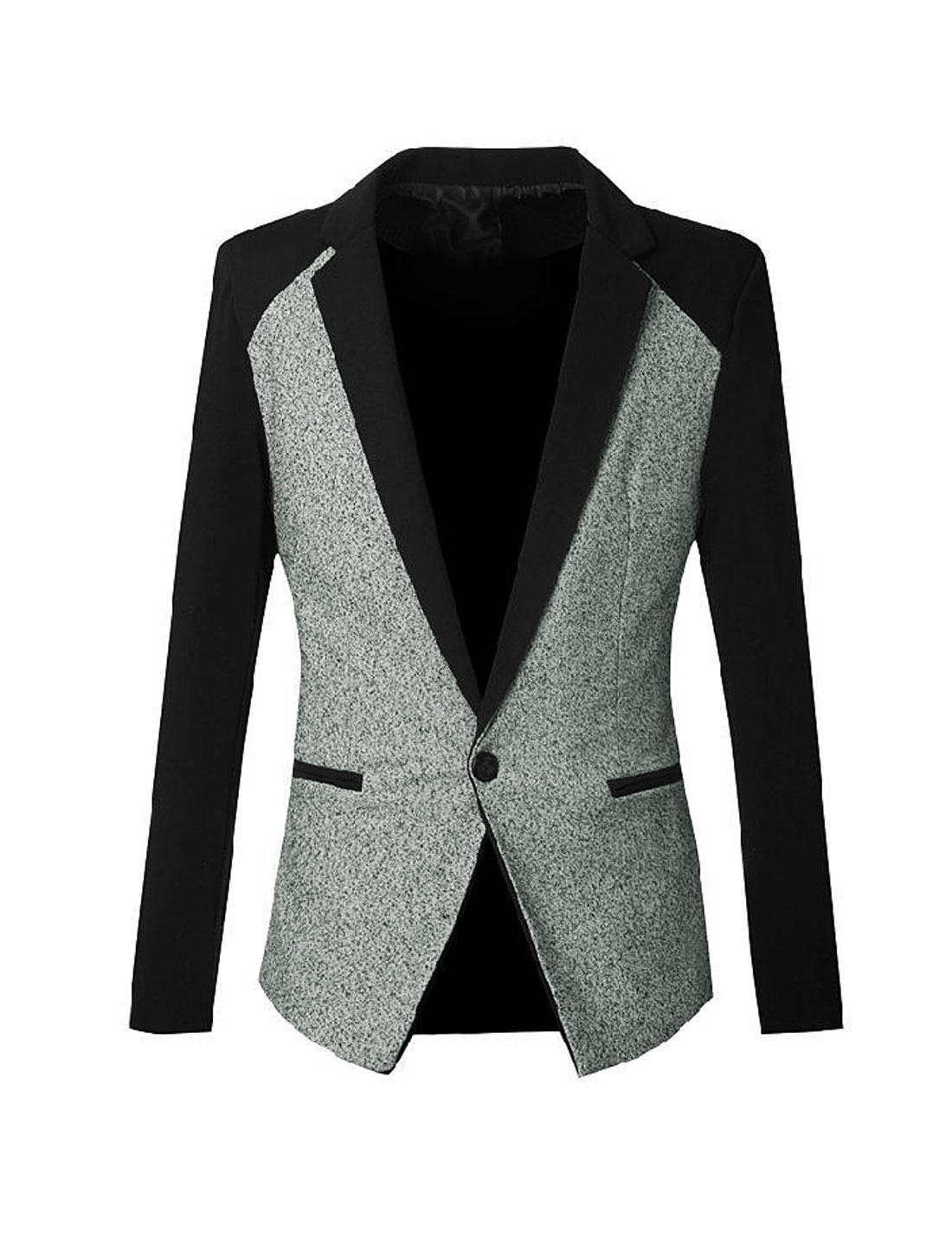 Men Long Sleeve One Button Premium Blazer Jacket Light Gray S