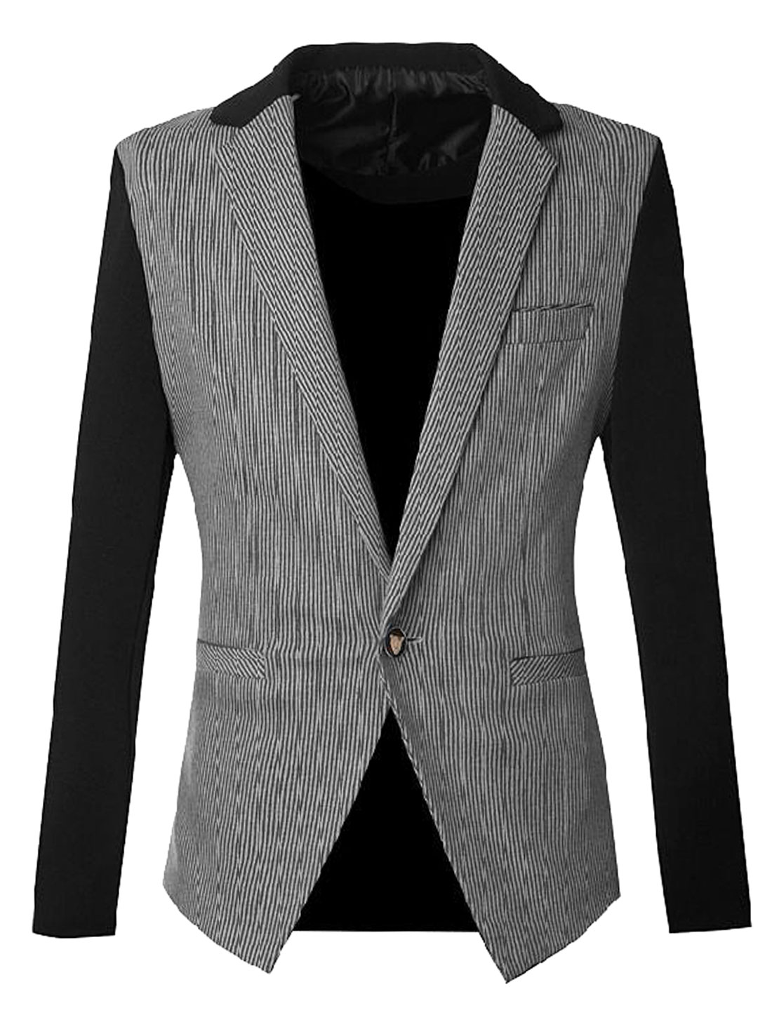 Men Notched Lapel Stripes Pattern One Button Closure Casual Blazer Black Gray S