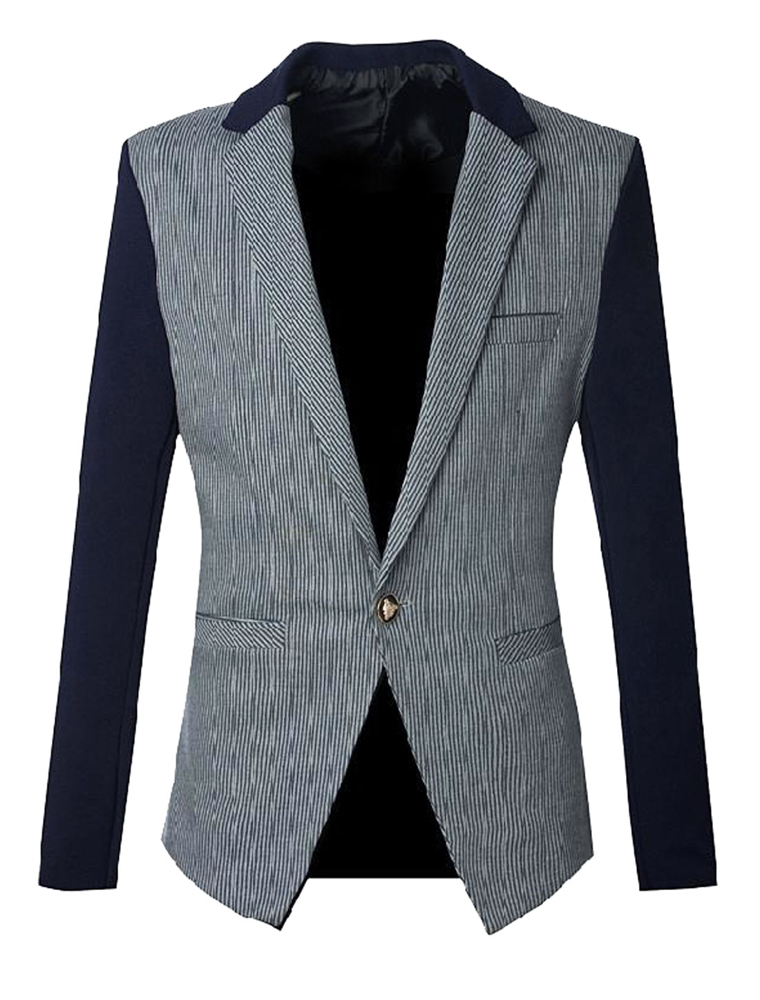 Men Notched Lapel Interior Pocket Slim Fit Leisure Blazer Navy Blue Gray S