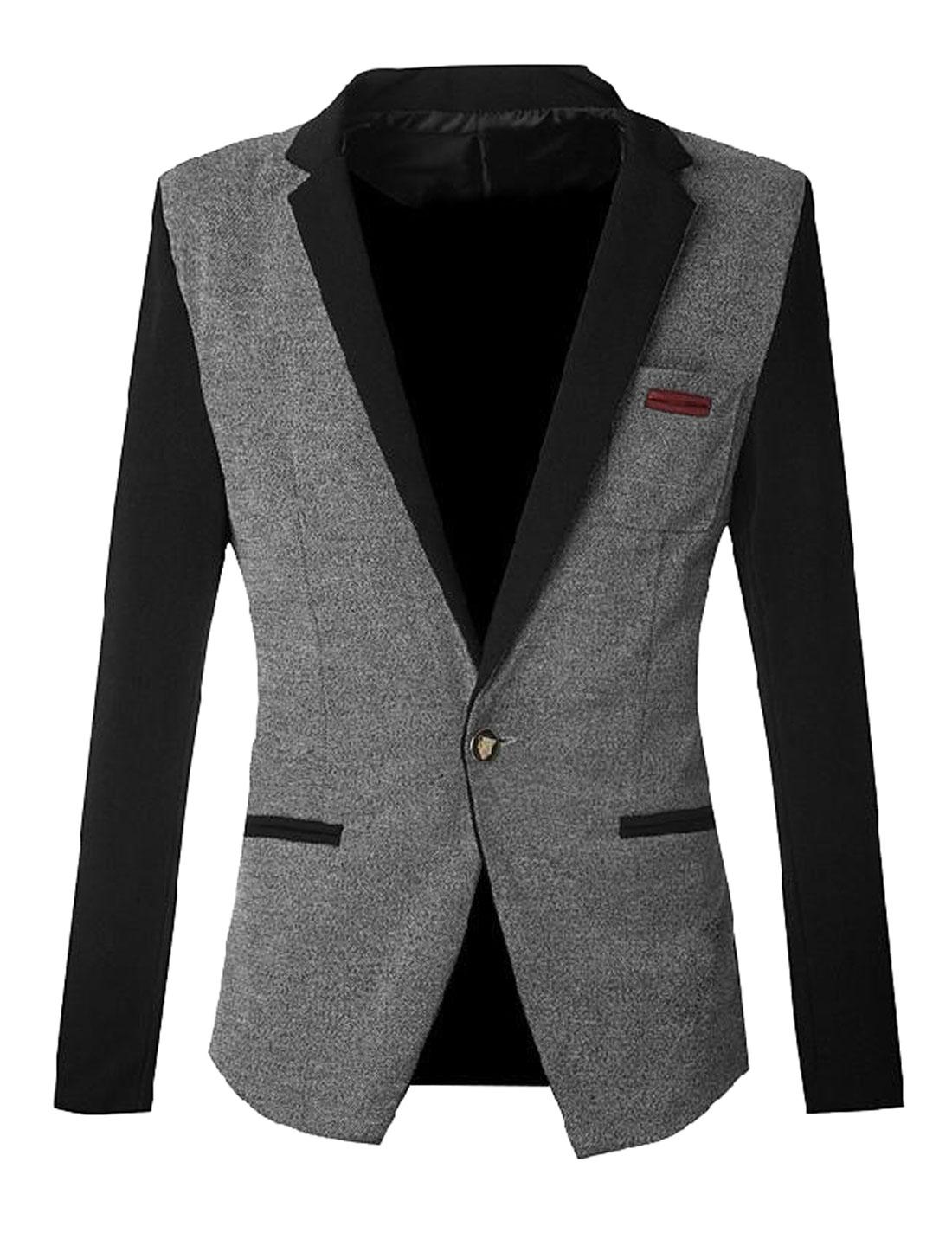 Men Color Block One Button Closure Casual Blazer Jacket Light Gray Black S