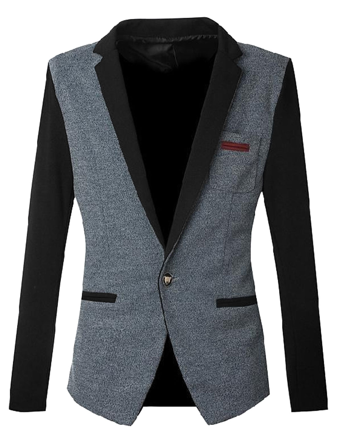 Slim Fit Casual One Pocket Chest Fashion Blazer Jacket for Men Navy Blue Black S