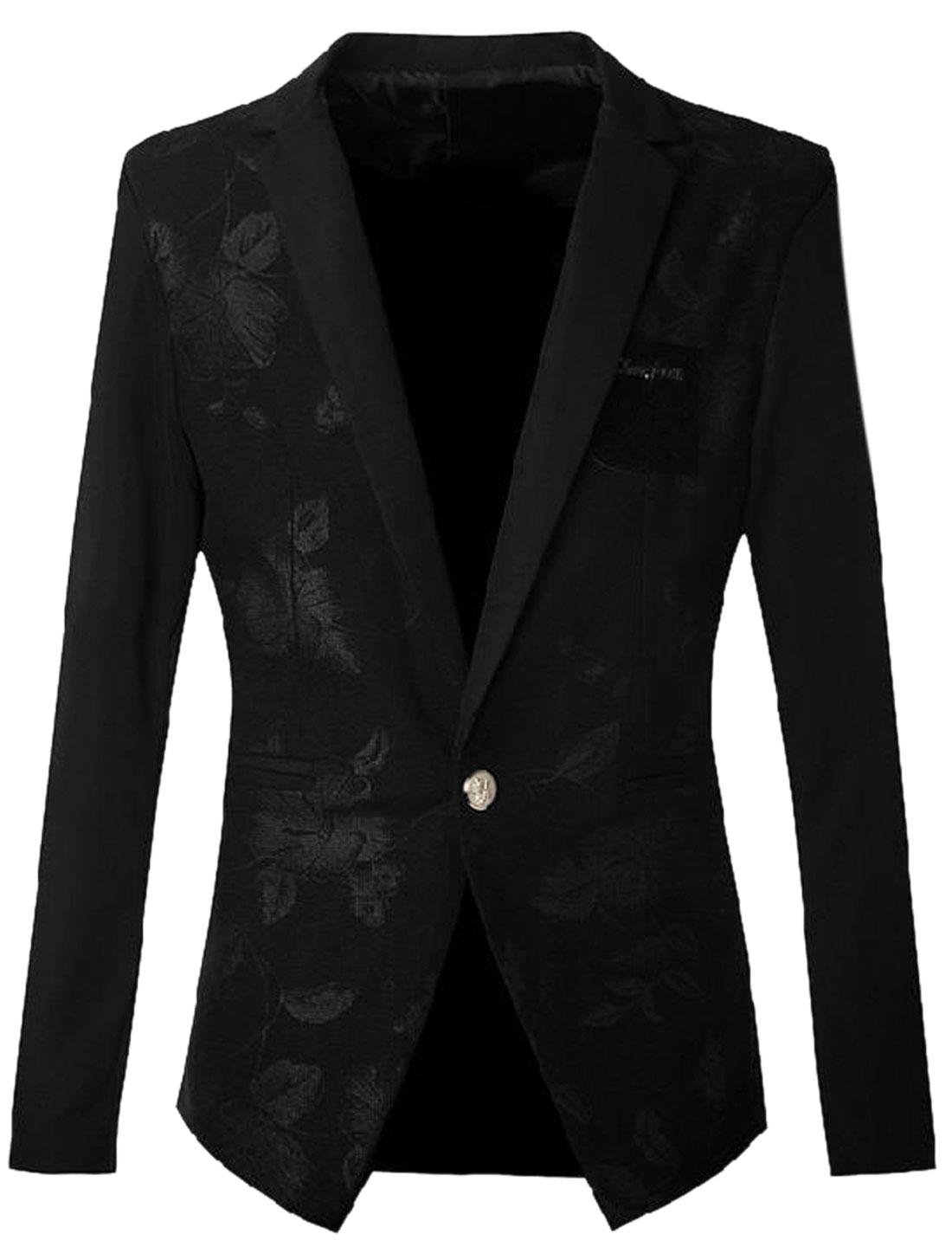 Men Notched Lapel Contrast Color Premium Blazer Jacket Black S