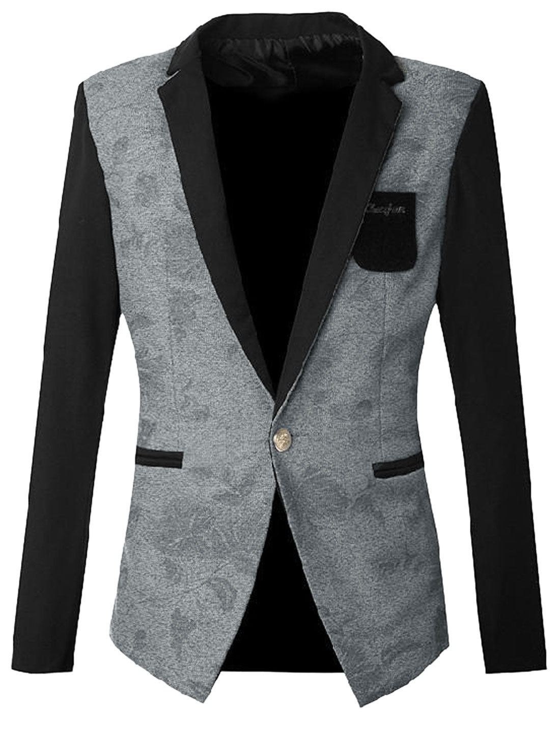 Men Long Sleeve Floral Design Premium Blazer Jacket Light Gray S
