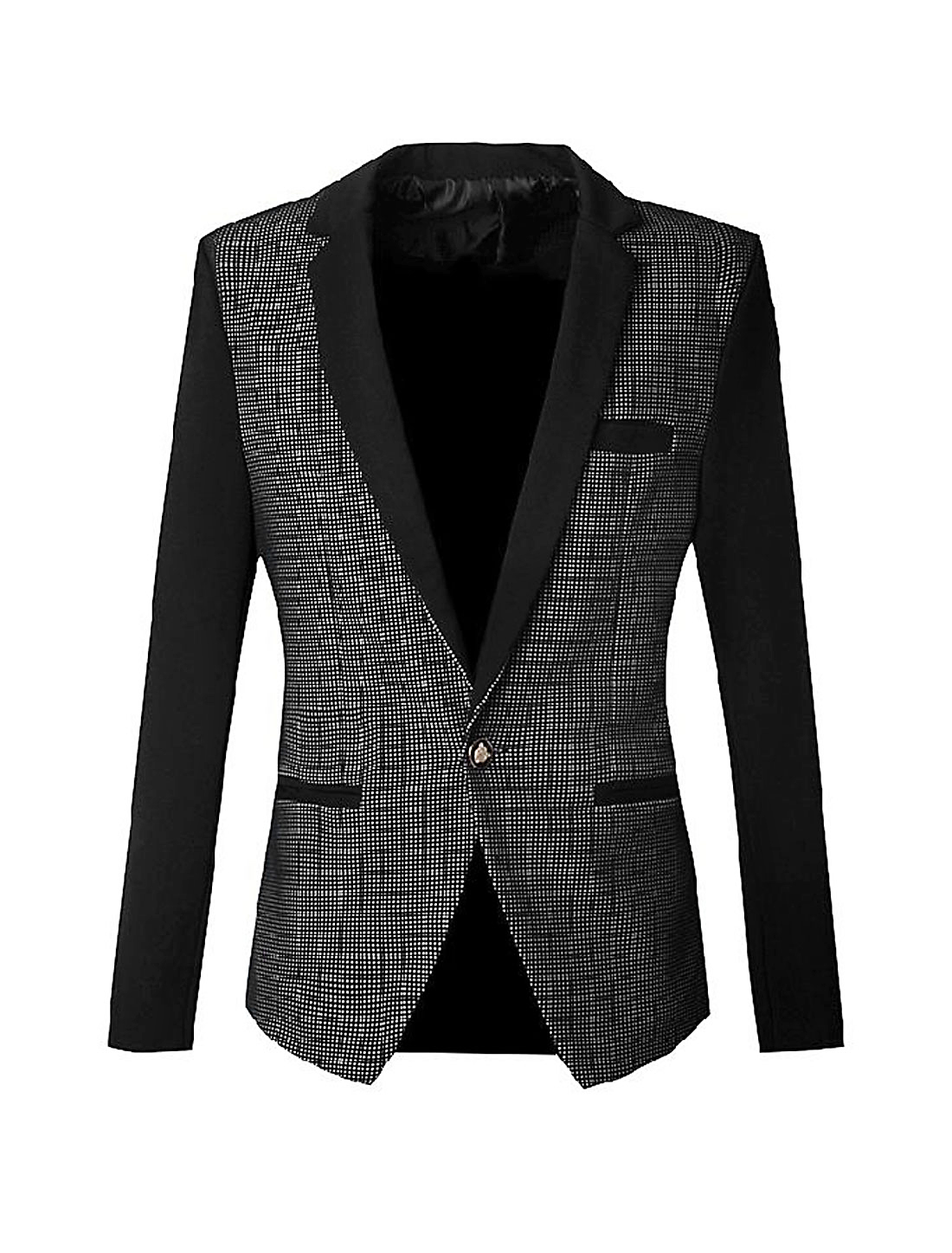 Men Plaids Pattern One Button Closure Slim Blazer Jacket Black S
