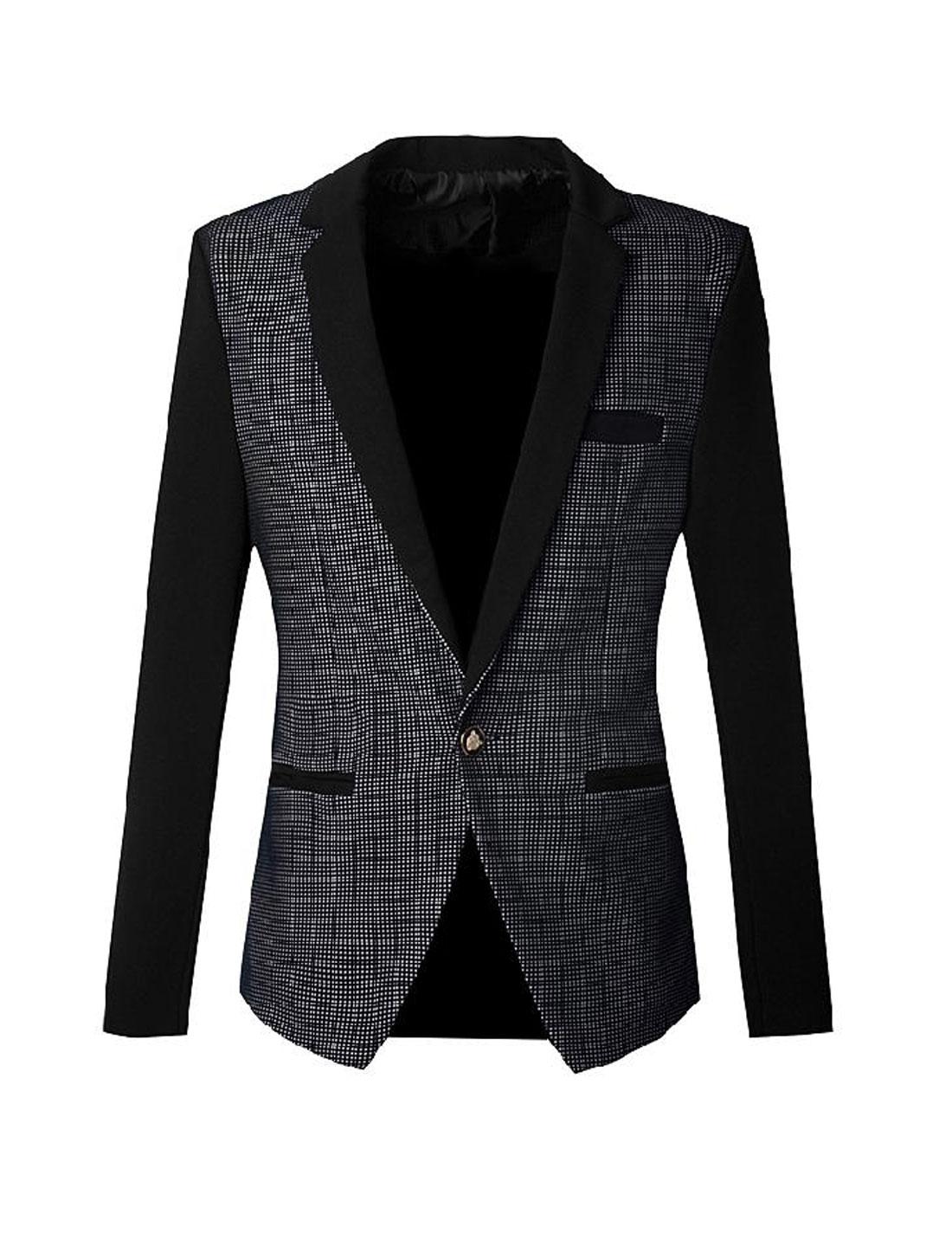 Cozy Fit Plaids Pattern Notched Lapel Blazer Jacket for Men Navy Blue Black S
