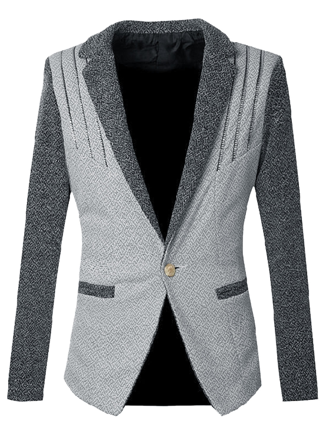 Men One Button Closure Split Back Casual Blazer Jacket Light Gray S