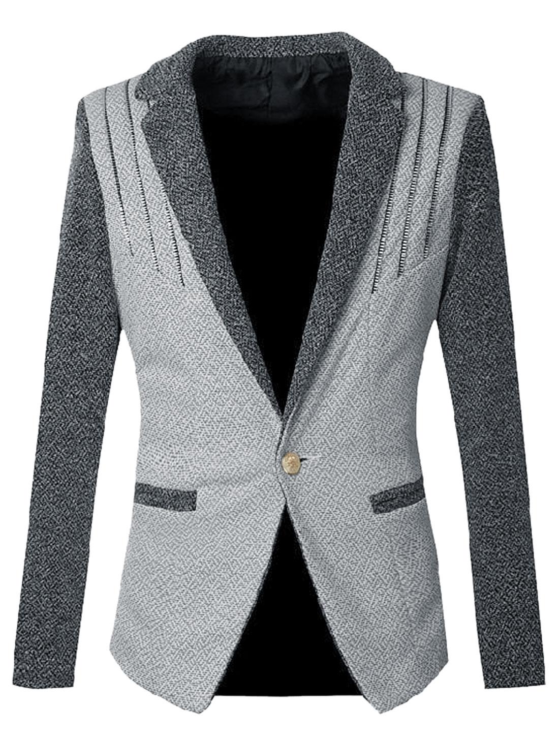 Men One Button Closure Split Back Casual Blazer Jacket Light Gray S