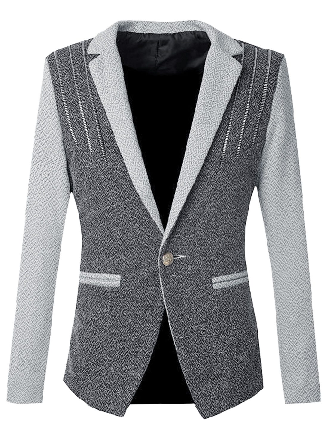 Men Zipper Decor Front Split Back Fashion Blazer Jacket Dark Gray S