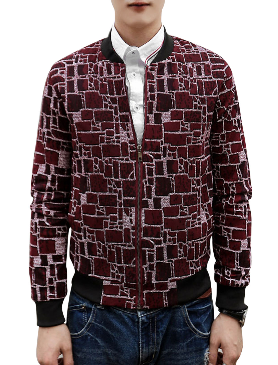 Men Geometric Prints Long Sleeves Zip Up Baseball Jacket Burgundy S