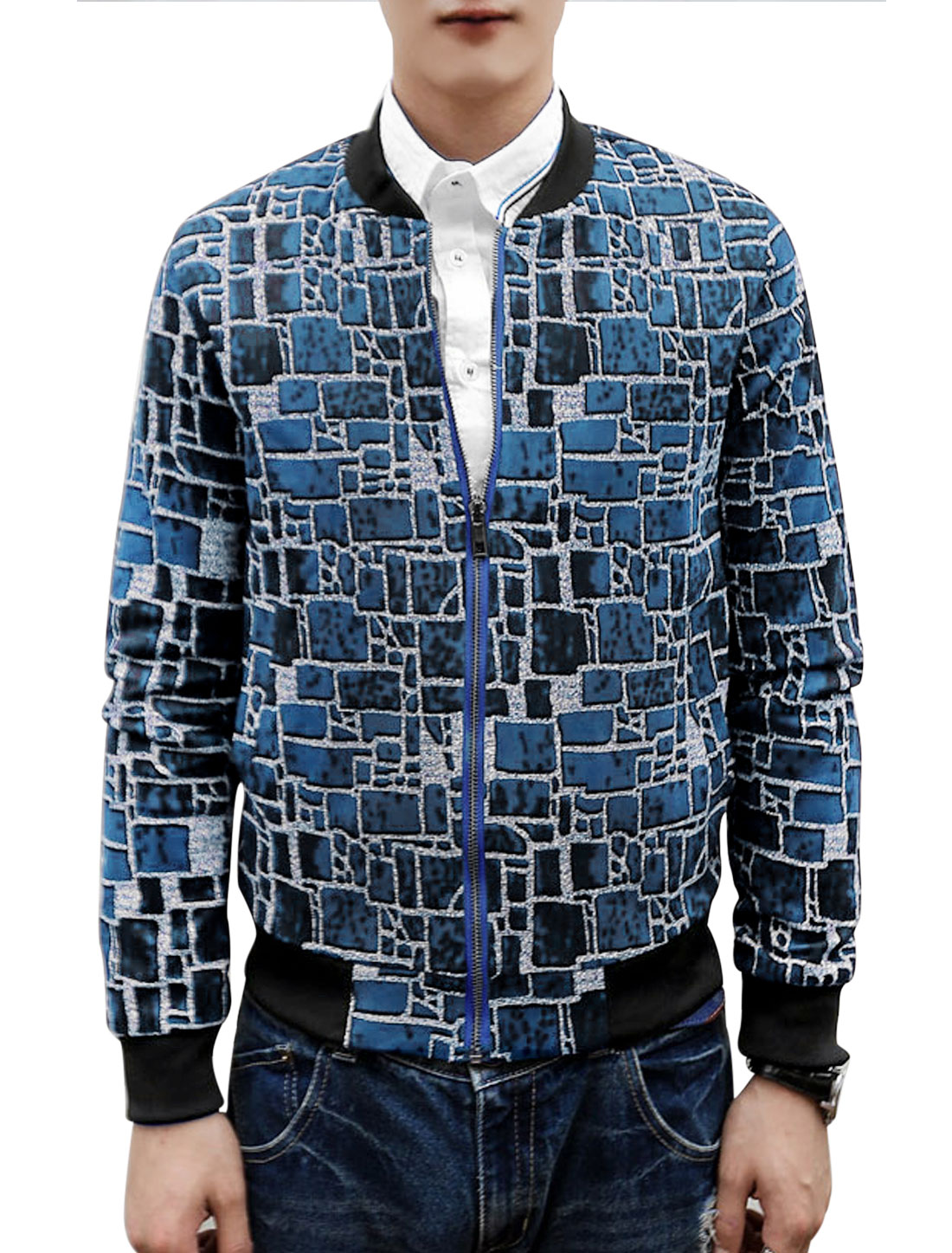 Man Stand Collar Geometric Prints Navy Blue Baseball Jacket S