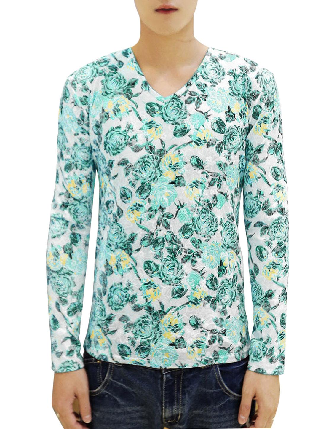 Men Pullover V Neck Floral Pattern Leisure T-shirt Green White S