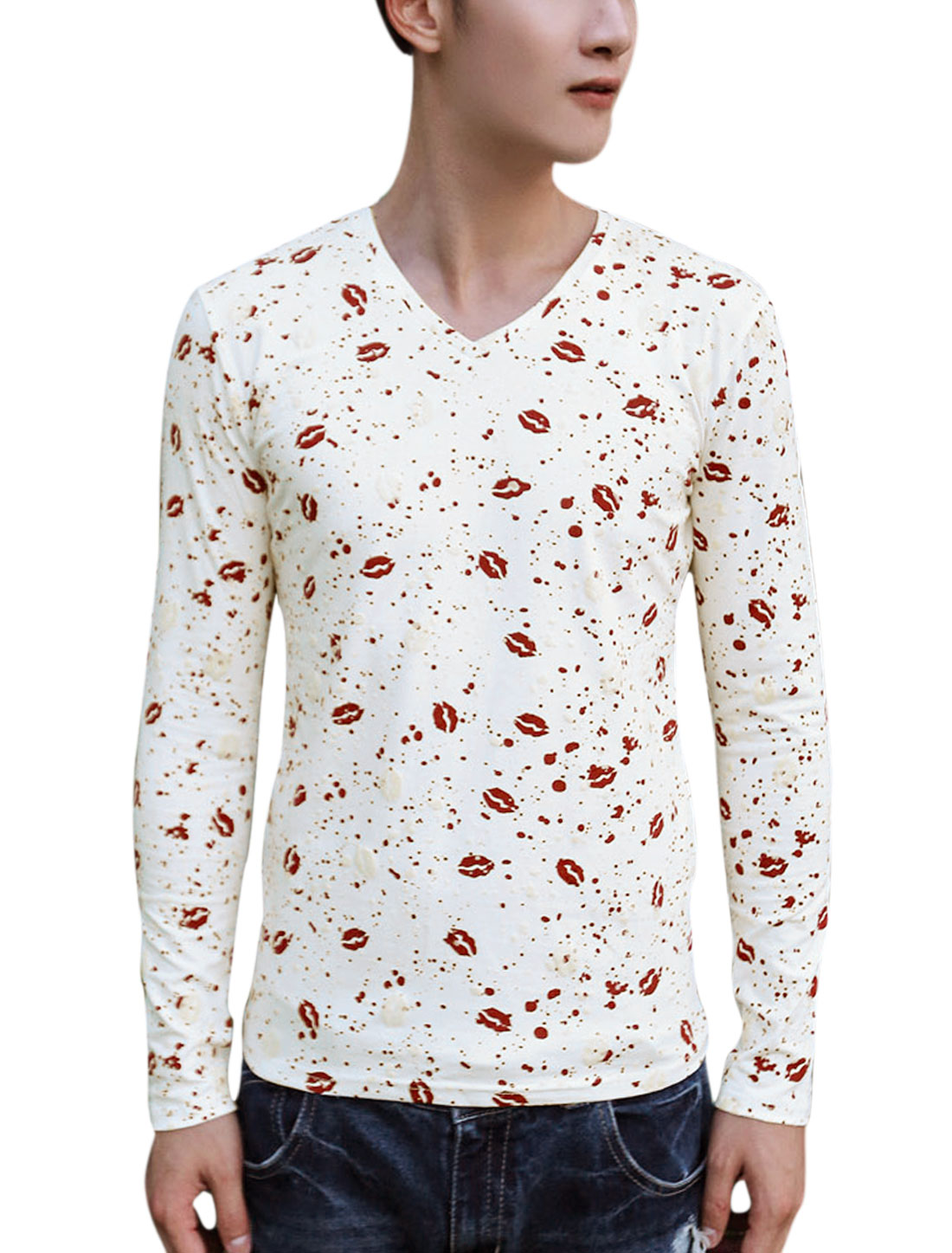 Men Allover Red Lip Printed V Neck Long Sleeves Slim Fit Tee Red White S