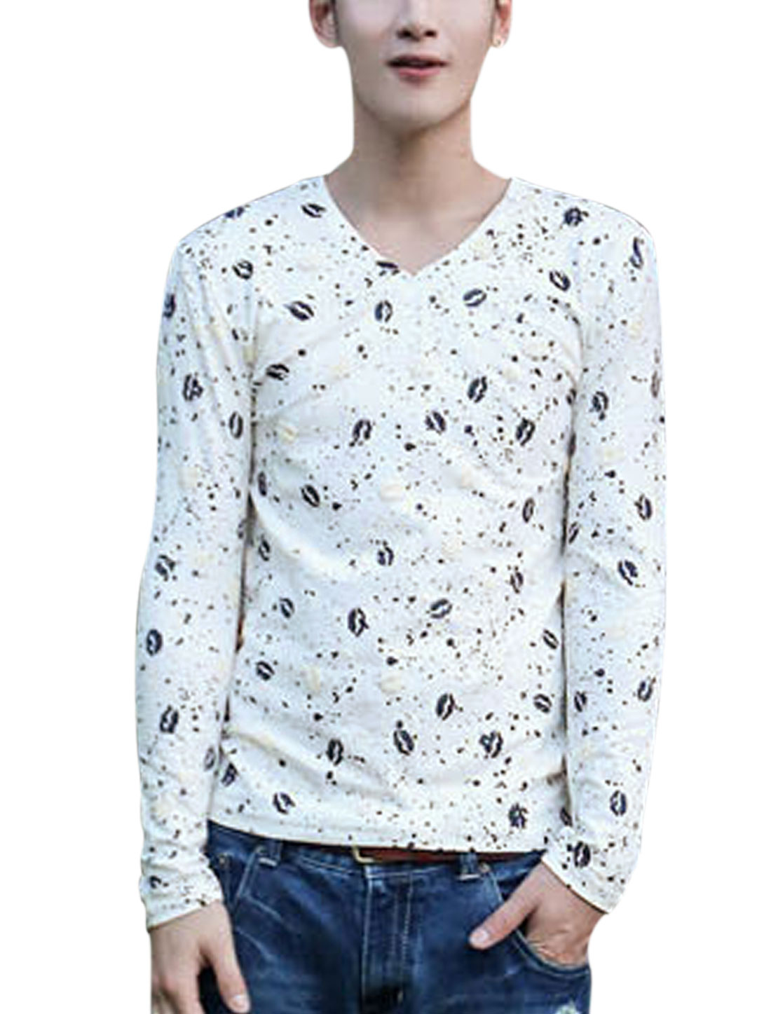 Men Allover Red Lip Printed Pullover Long Sleeves Slim Fit Tee Navy Blue White S