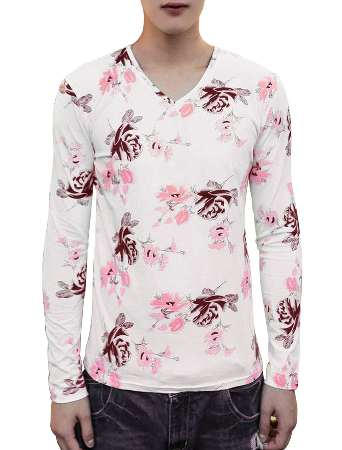 Man Long Sleeves Allover Prints Slim Fit V Neck Casual Shirt Pink White S
