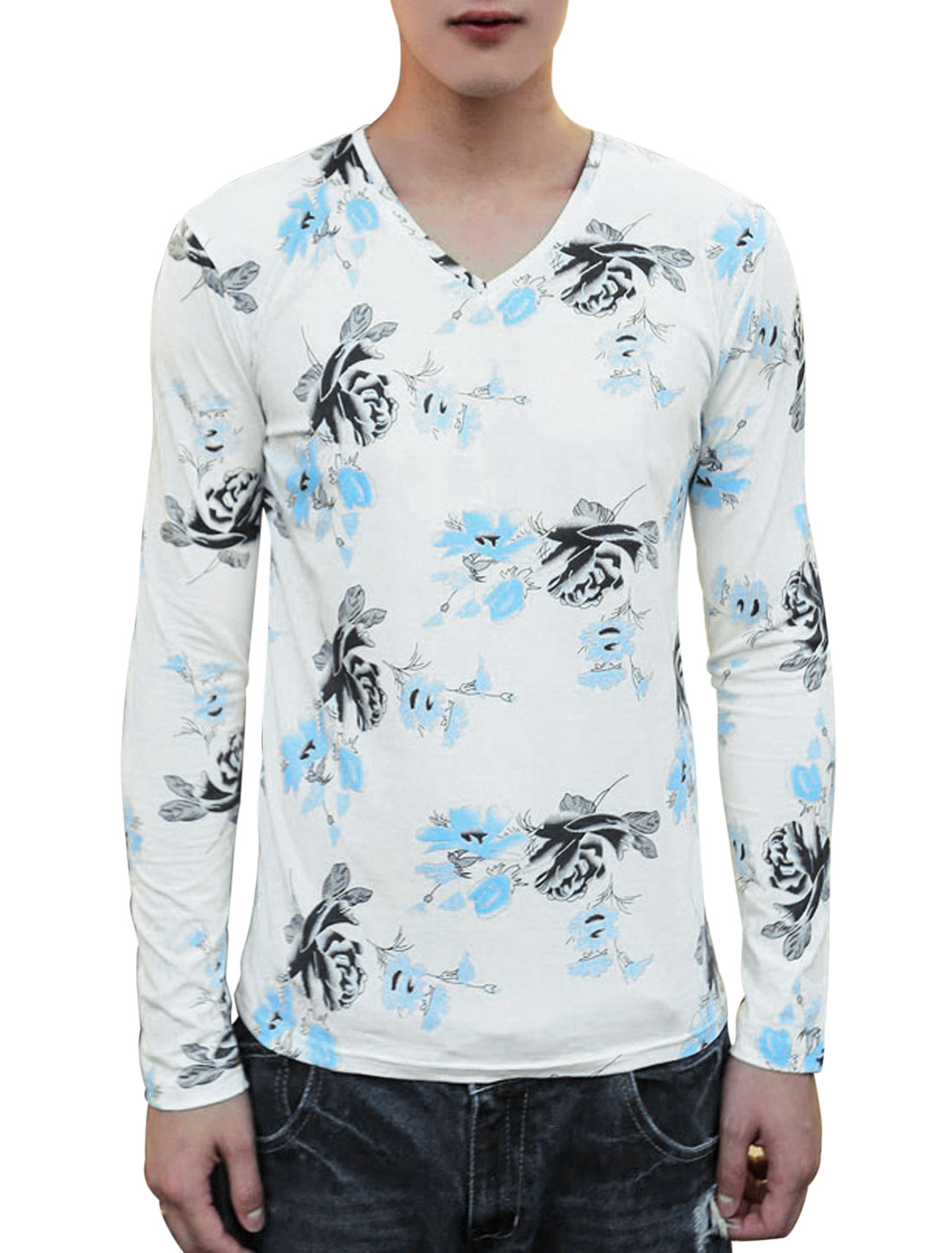 Allover Flower Prints Pullover Slim Fit Blue White Casual Shirt for Man S