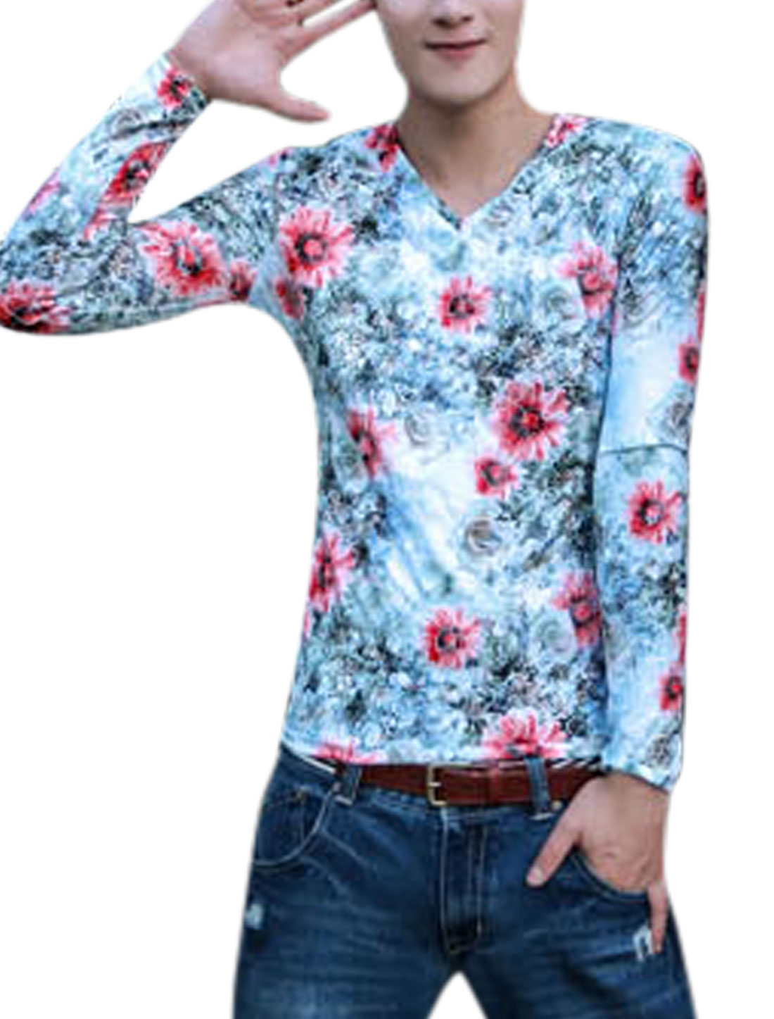 Men Allover Floral Prints V Neck Long Sleeves T-shirt Light Blue S