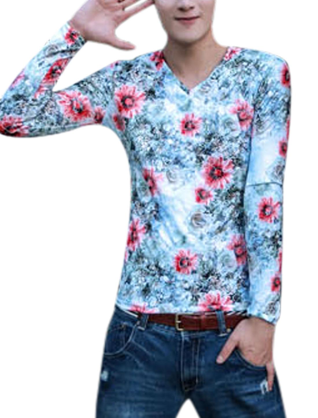Men Allover Floral Prints V Neck Long Sleeves T-shirt Light Blue S