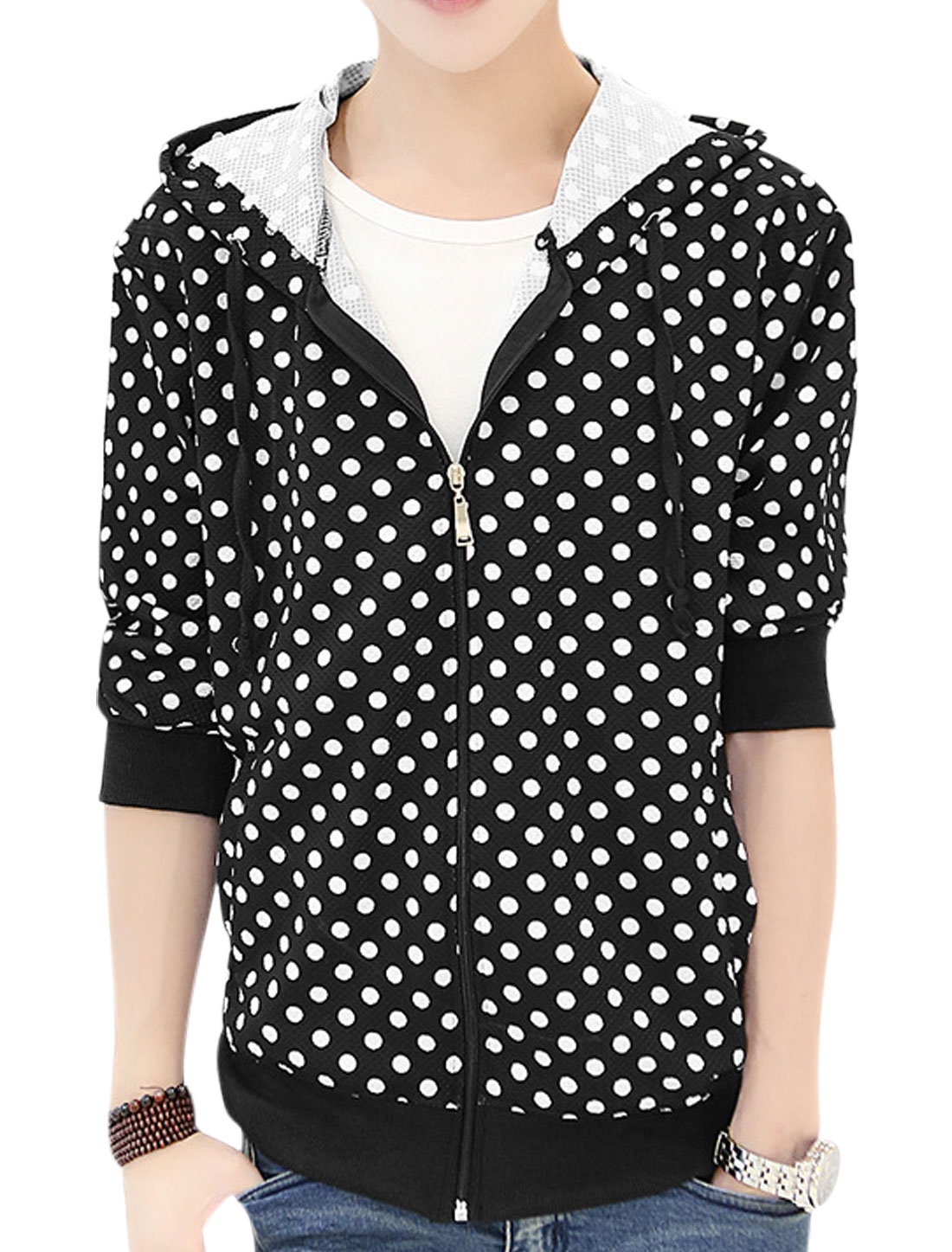 Men Stylish Drawstring Hooded Design Front Pockets Dotted Jacket Black S
