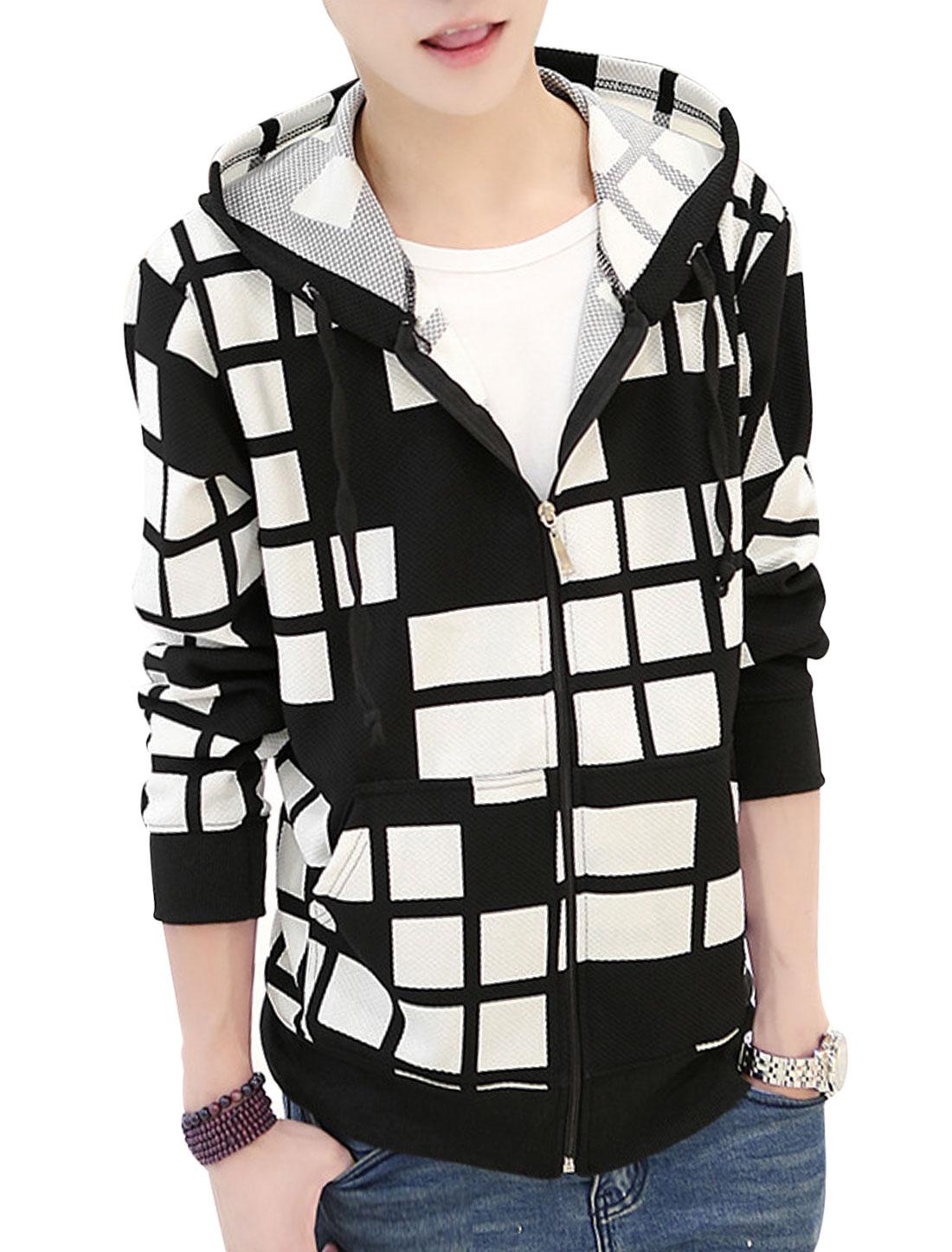 Men Drawstring Hooded Zip Up Plaids Pattern Casual Hoodie Jacket Black White S