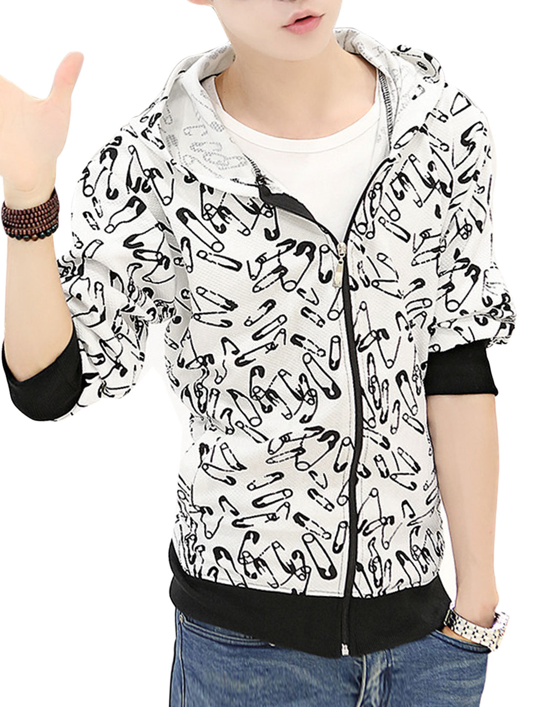 Men Drawstring Hooded Zip Up Safety Pin Pattern Leisure Hoodie Jacket White S