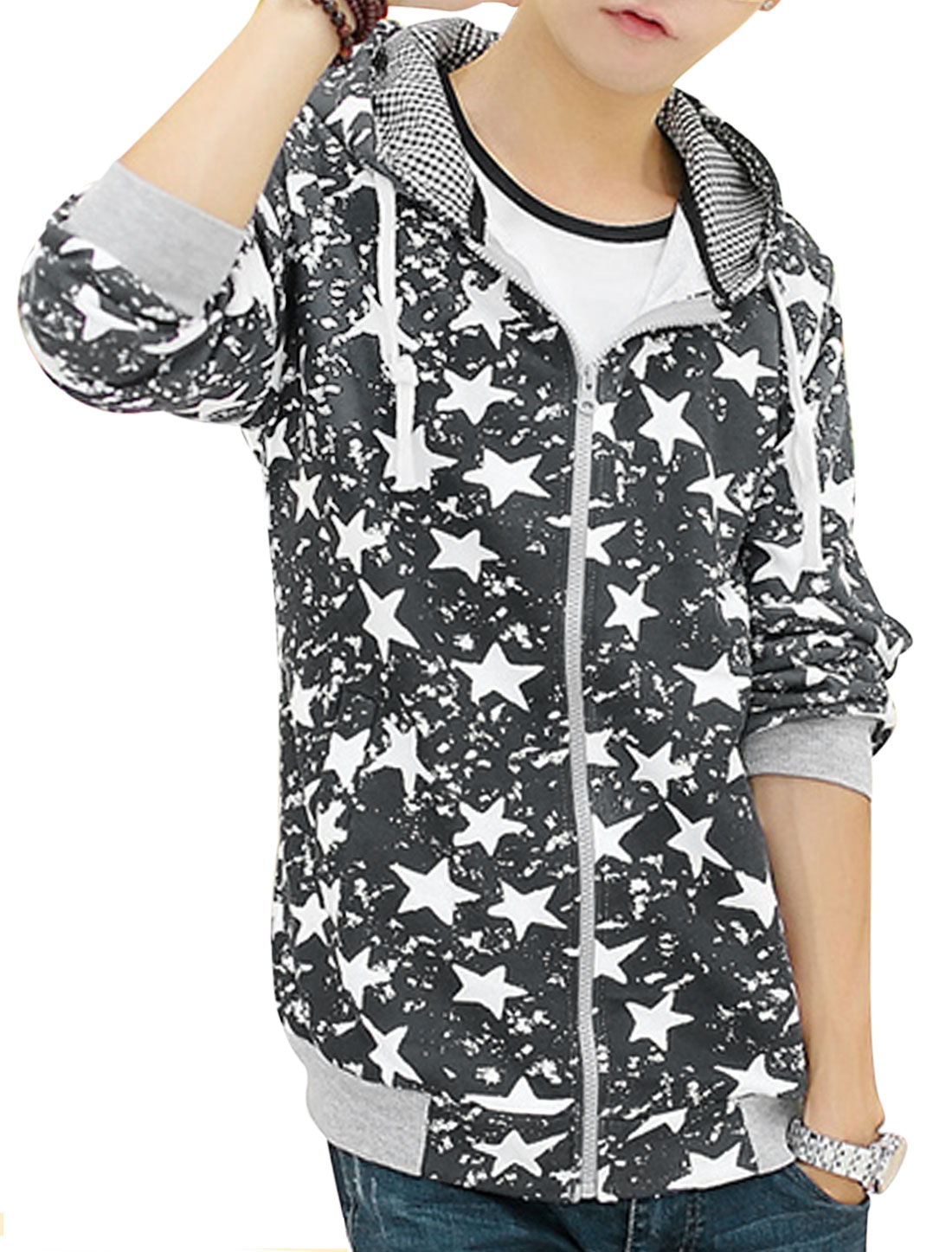 Men Drawstring Hooded Design Stars Pattern Casual Hooded Jacket Dark Gray S