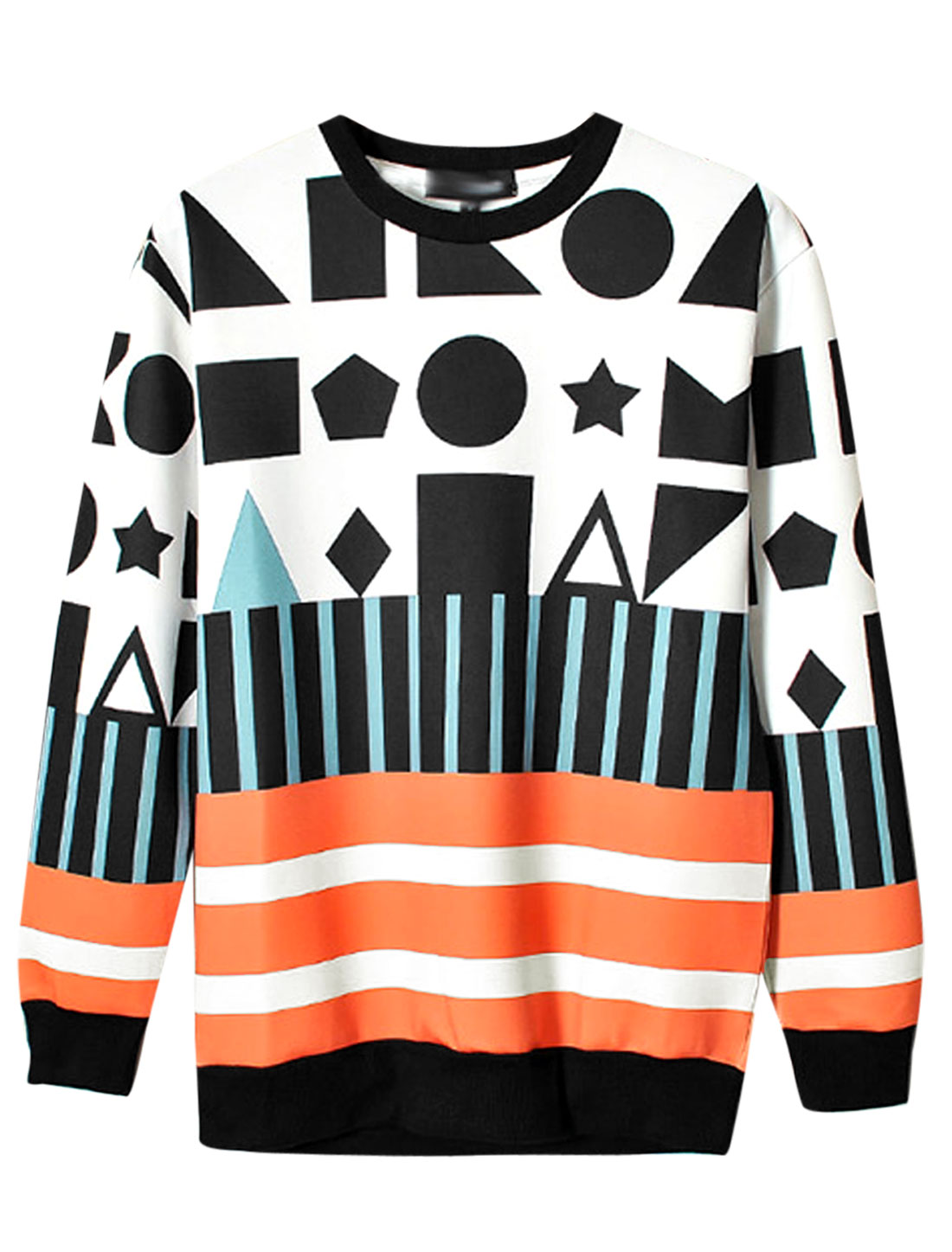 Men Geometric Stars Prints Long Sleeve Ribbed Hem Sweatshirt Multicolor M