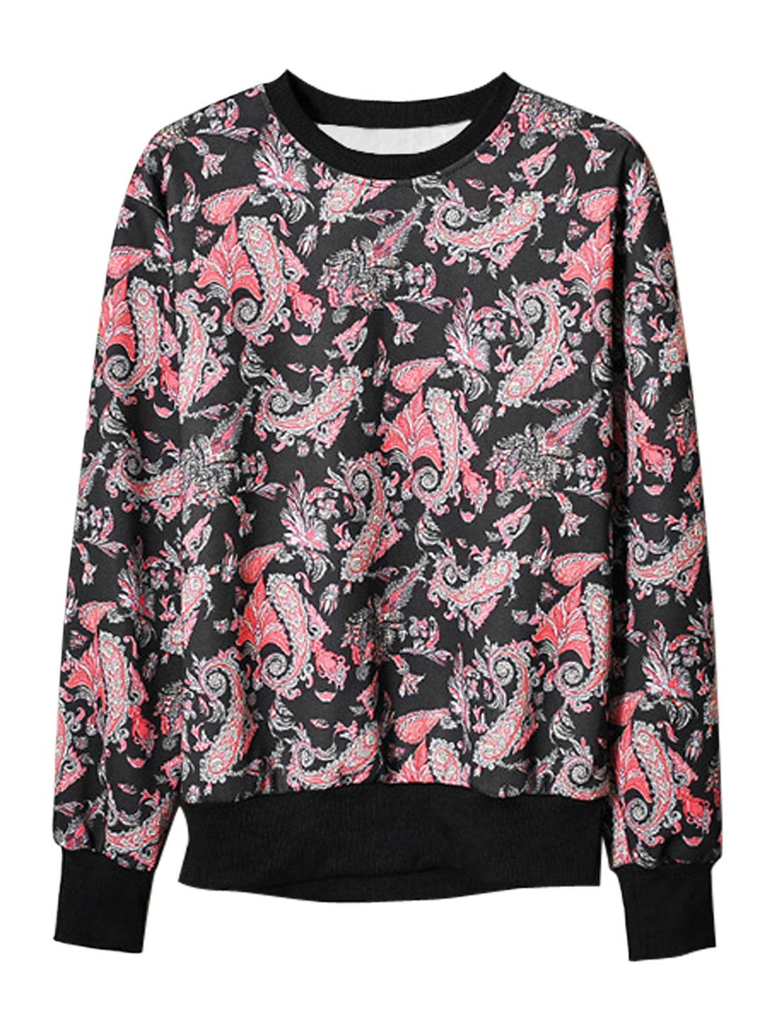 Men Long Sleeeve Paisleys Pattern Casual Design T-Shirt Black M