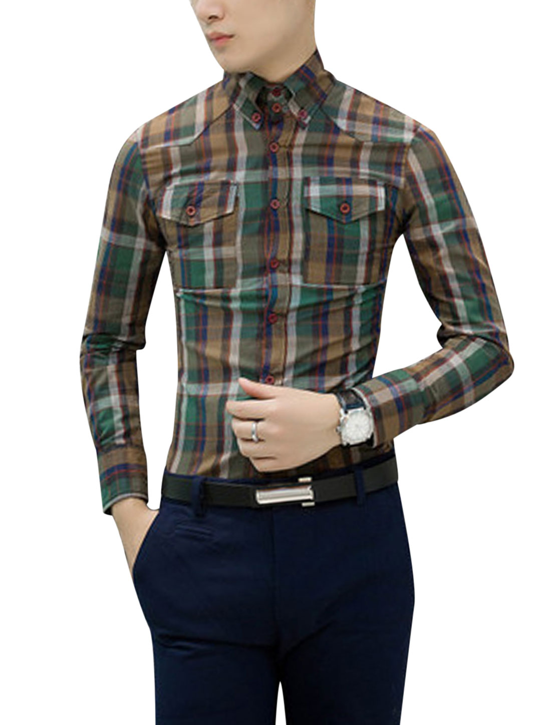 Men Point Collor Long Sleeve Plaids Casual Shirts Multi Color S