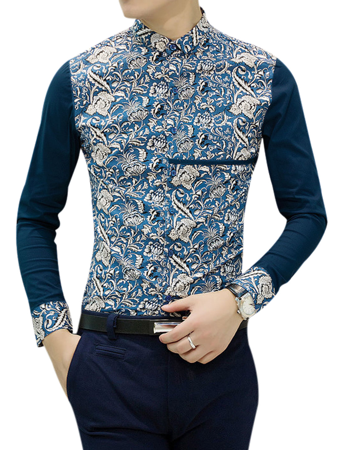 Men Contrast Sleeves Button Closure Casual Shirts Blue Navy Blue S
