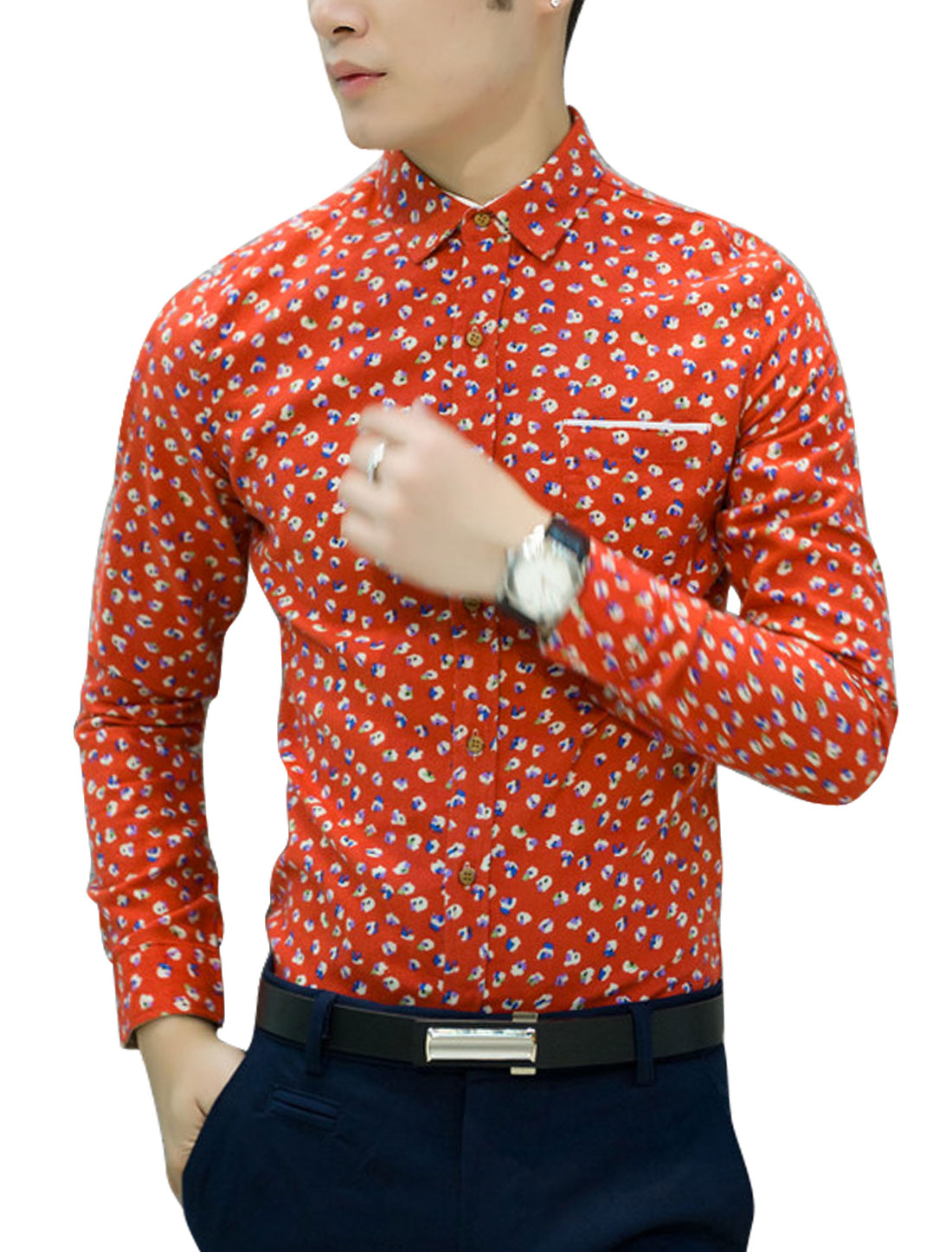 Men Allover Floral Print Long Sleeves Single Breasted Cozy Fit Shirt Orange Red S