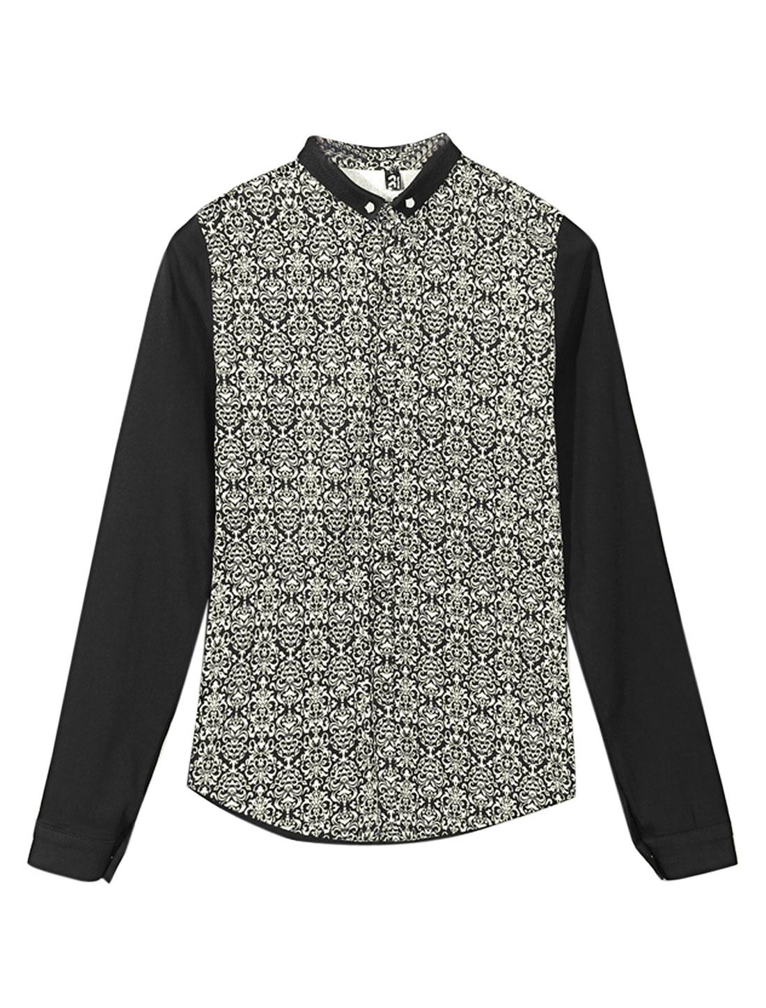 Men Contrast Novelty Print Panel Point Collar Slim Shirt Beige Black S