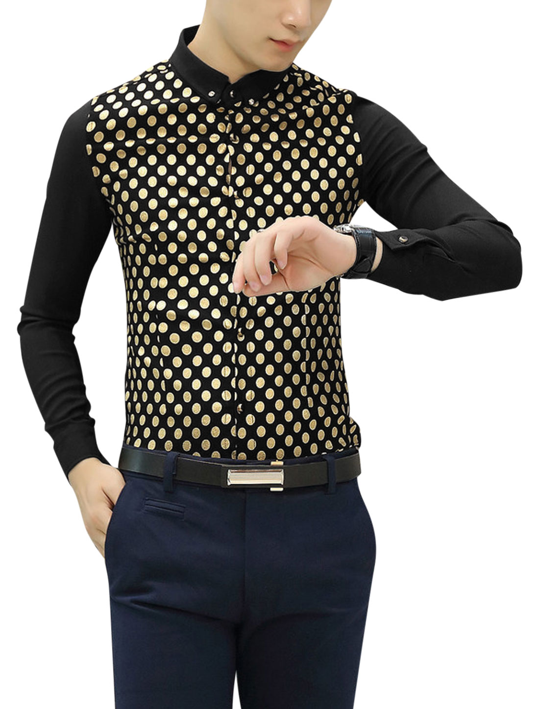 Men Point Collor Long Sleeve Dots Casual Shirts Black S