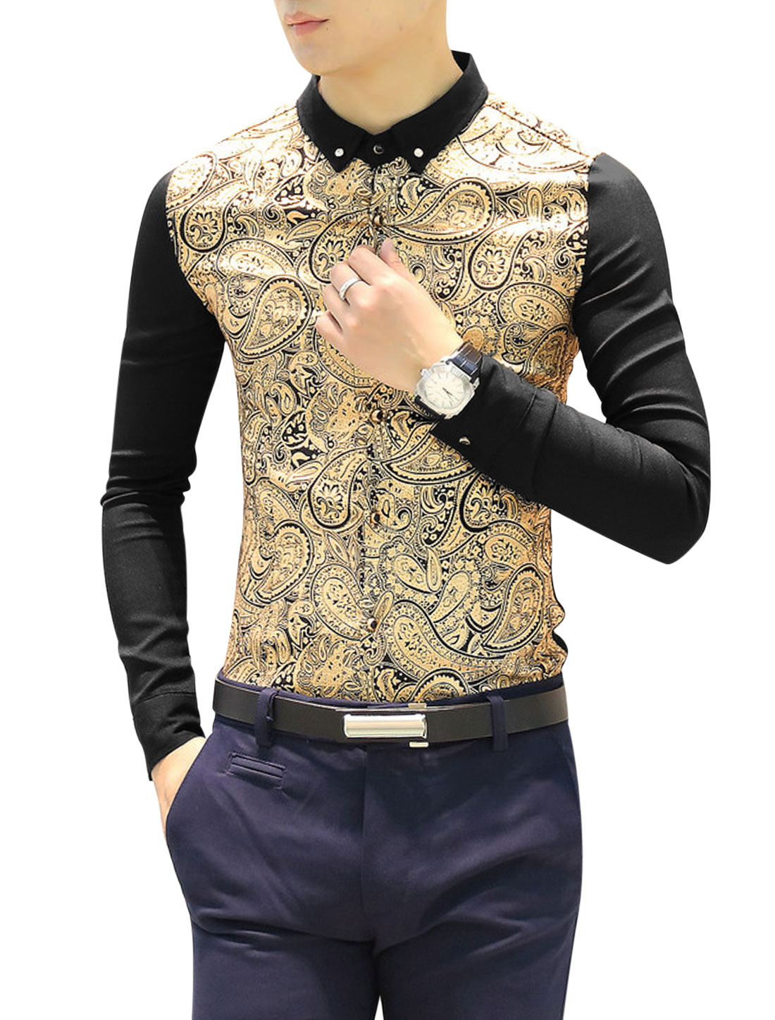 Men Point Collar Long Sleeve Paisleys Pattern Casual Shirts Black S