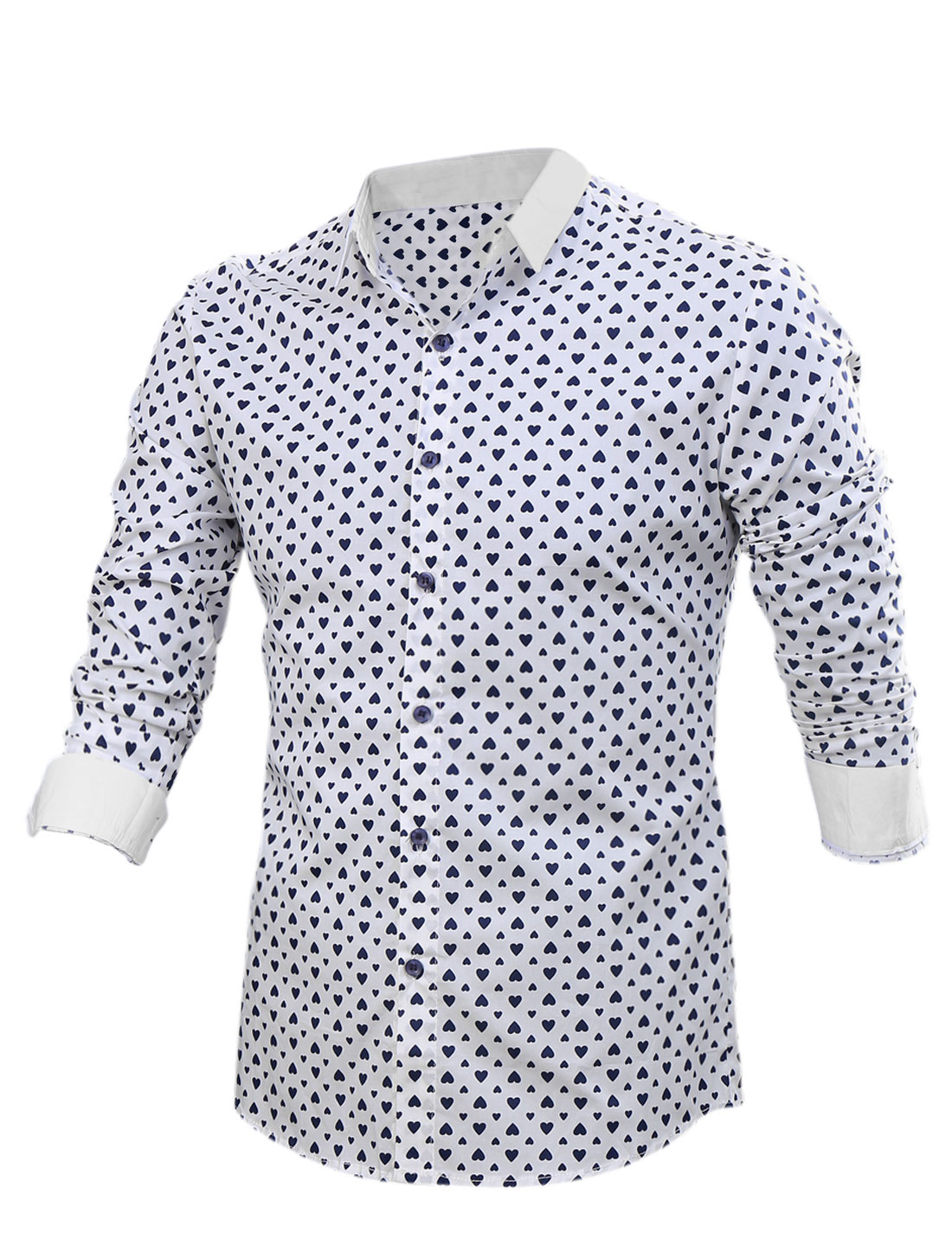 Men Allover Hearts Print Long Sleeves Point Collar Button Down Shirt White M