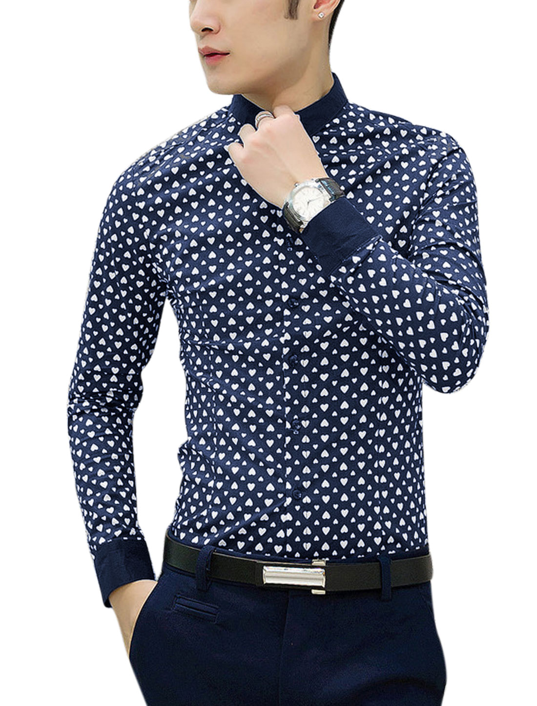 Men Allover Hearts Print Panel Point Collar Button Down Shirt Navy Blue M