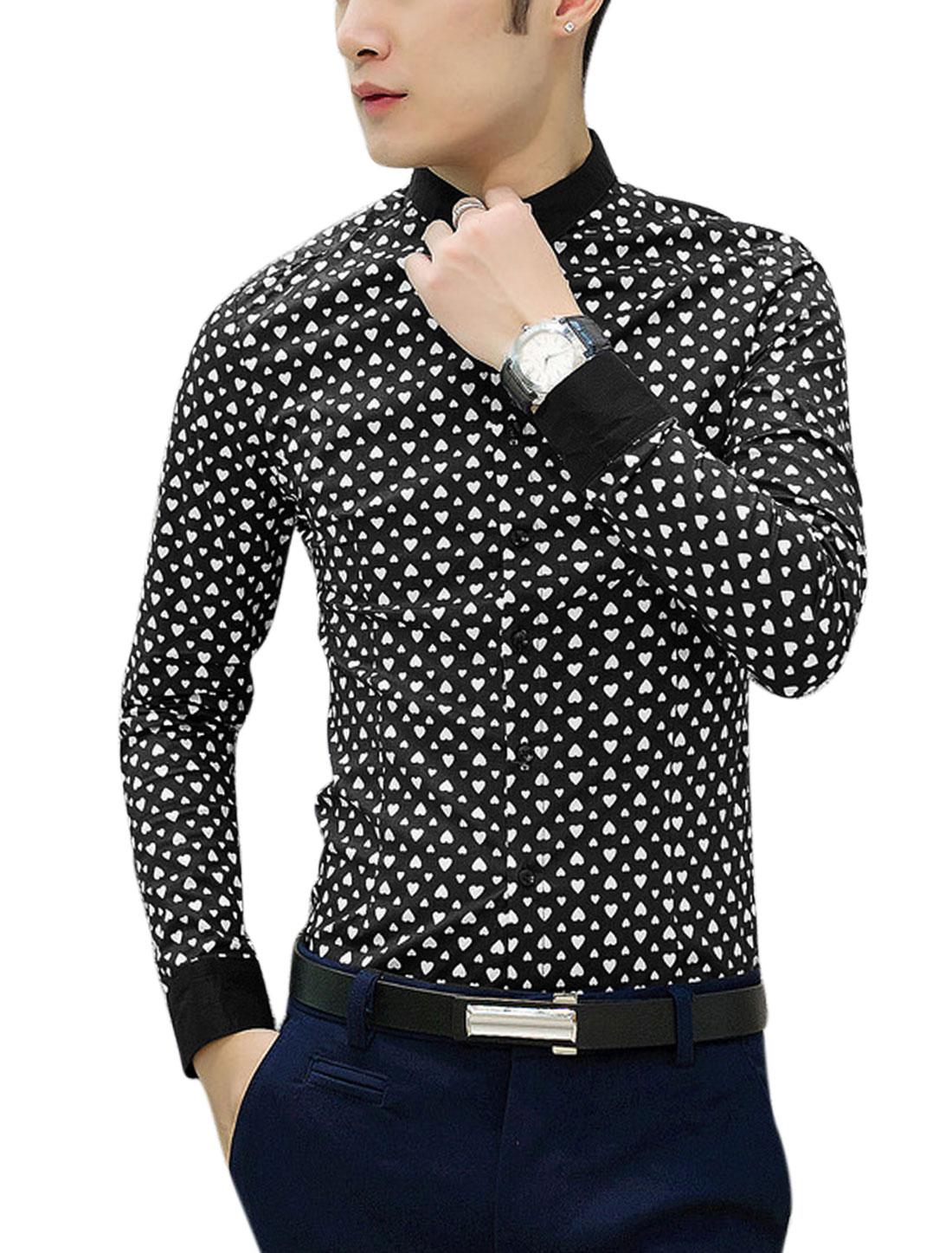 Men Allover Hearts Print Button Closed Point Collar Button Down Shirt Black M