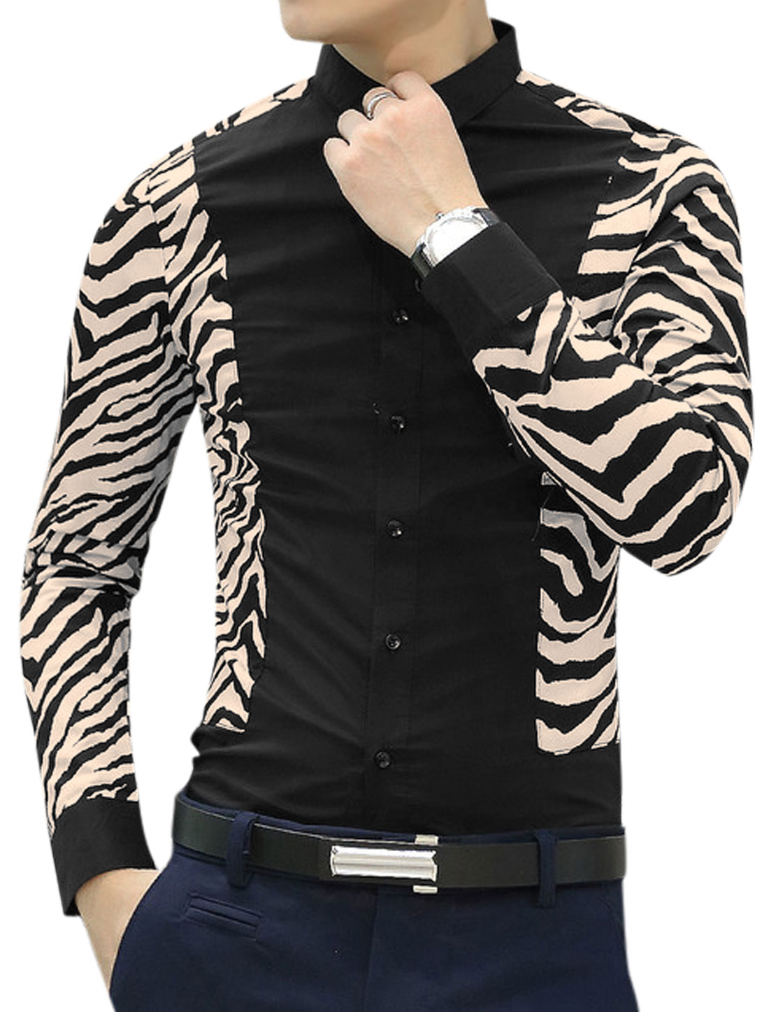 Men Point Collar Long Sleeve Zebra-Stripe Casual Shirts Black M