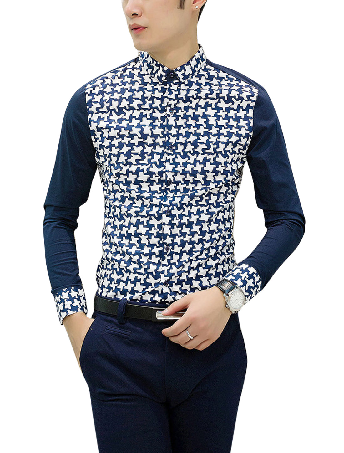 Men Contrast Novelty Print Panel Point Collar Stylish Shirt Navy Blue White M