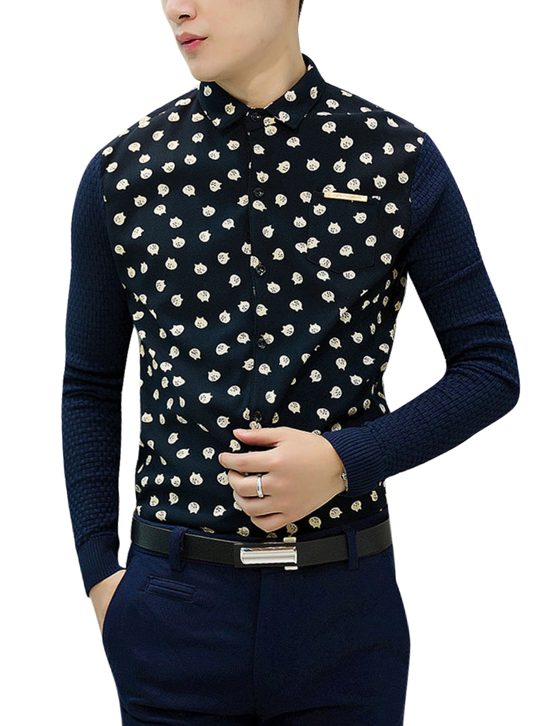 Men Cartoon Cat Print Contrast Color Rib Knit Panel Slim Cut Shirt Navy Blue S