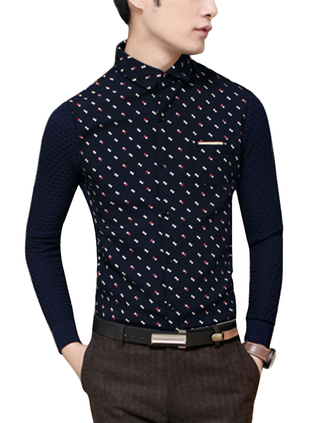 Men Bowknot Print Contrast Color Rib Knit Panel Slim Cut Shirt Navy Blue S