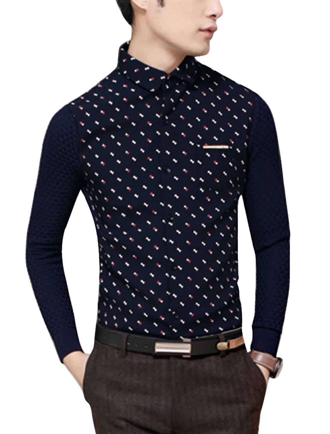 Men Bowknot Print Contrast Color Rib Knit Panel Slim Cut Shirt Navy Blue S