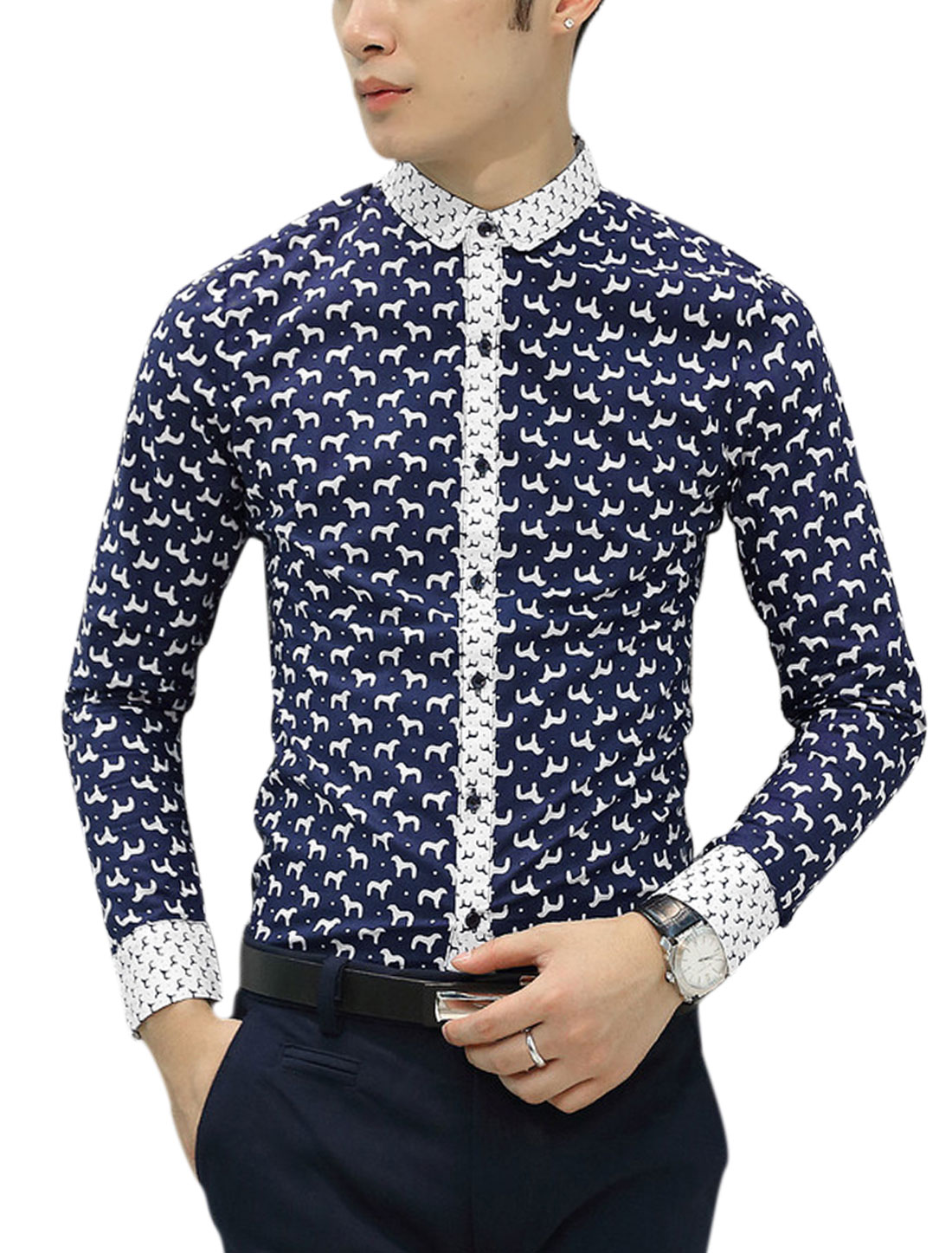 Men Animal Pattern Point Collar Long Sleeve Shirts Navy Blue M