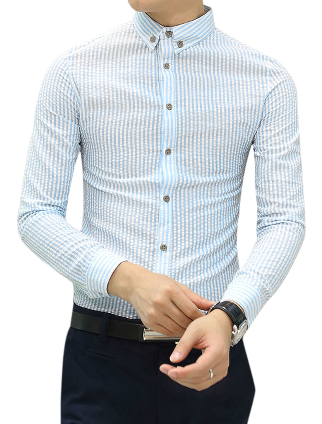 Men Stripes Long Sleeves Button Closed Casual Shirt Blue White S