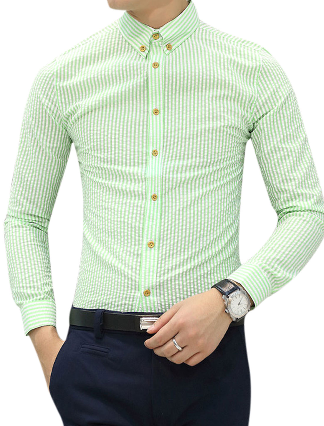 Man Stripes Button Cuffs Long Sleeves Green White Casual Shirt S