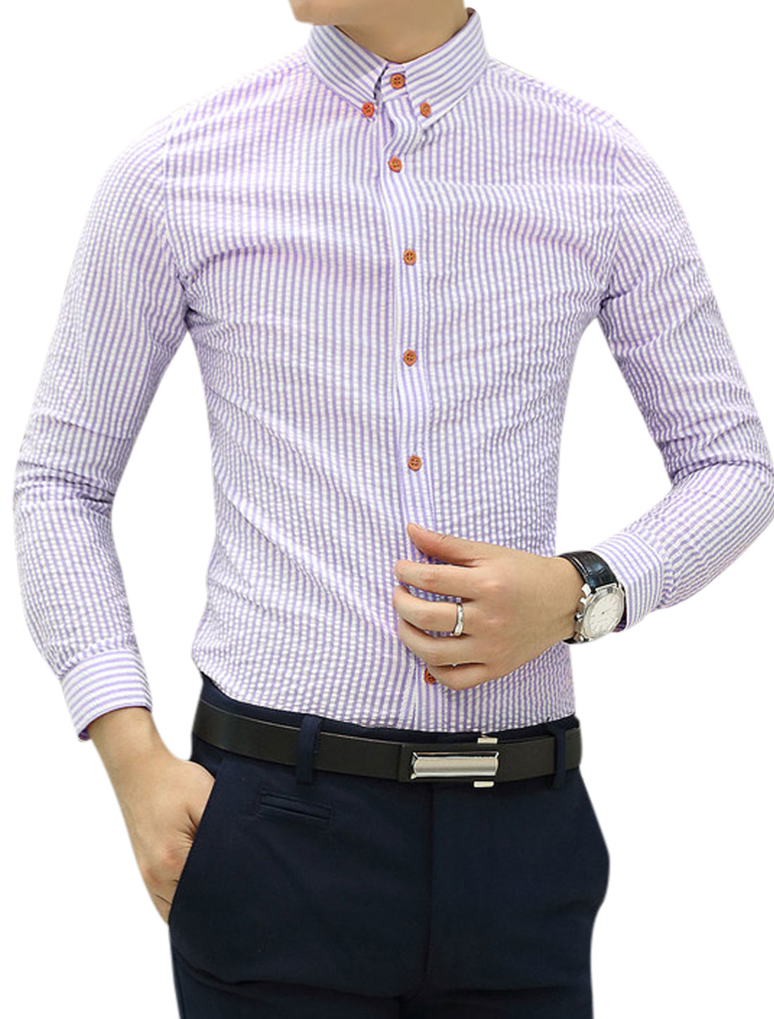 Men Long Sleeves Stripes Button Cuffs Purple White Casual Shirt S